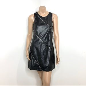 NWT BLACK FAUX LEATHER DRESS
